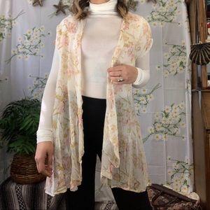 Vintage sheer floral duster vest